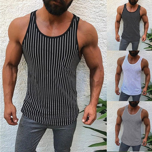 Solid Color Stripe Sleeveless Men's Vest