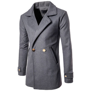 Solid Color Double-Breasted Men's Trench Coat