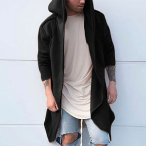 Hooded Long Sleeve Pure Color Men's Coat