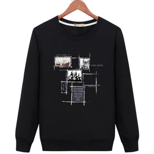Geometric Long Sleeve Pullover Round Neck Men's Sweatshirt