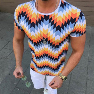 Floral Slim Fit Color Matching Men's T-shirt
