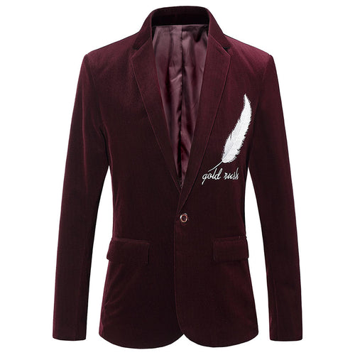 Corduroy Long Sleeve Plain Feather Embroidery Men's Trench Coat