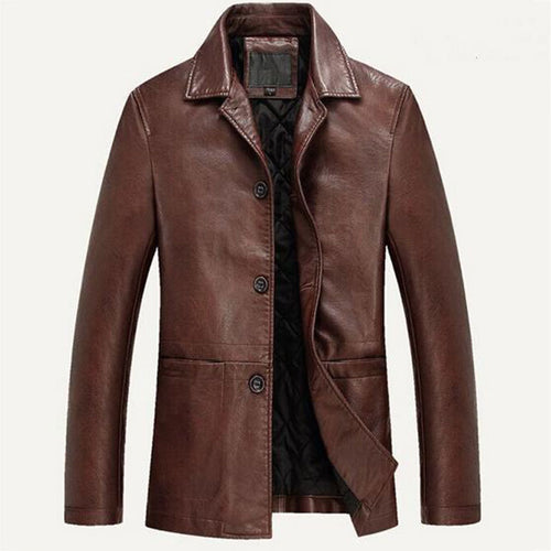 Thicken Single-Breasted Plain Lapel PU Men's Leather Coat