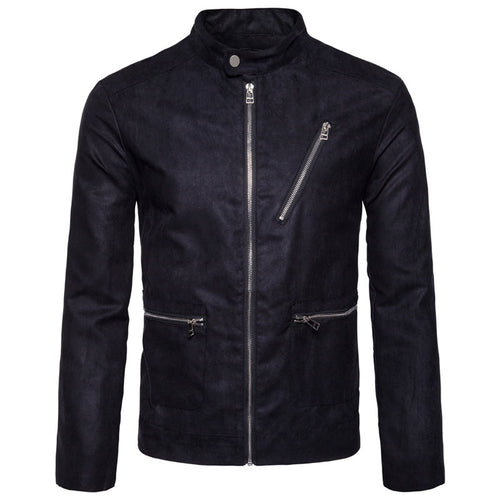 Deerskin Velvet Zipper Decoration Casual Men's Jacket