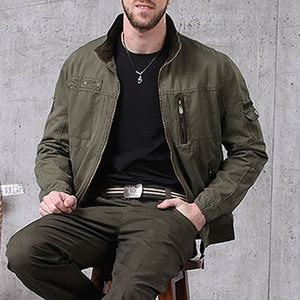 Leisure Tooling With Wind-proof Collar Men's Jacket