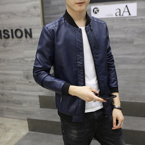 Slim Stand Collar Polyester Solid Color Men's Pleather Coat