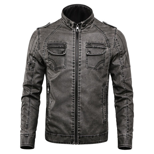 Epaulet Worn Stand Collar Zipper Men's Leather Coat