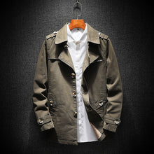 Solid Color England Button Print Cotton Men's Trench Coats
