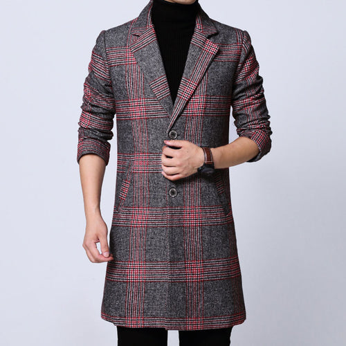 Lattice Pattern Patchwork Windproof Men's Trench Coat