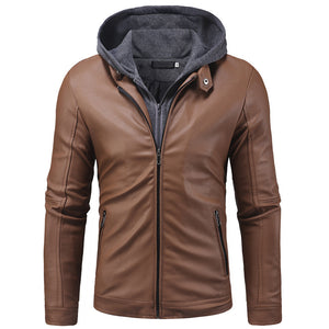 Double Zipper Placket Knitting Men's Pleather Coat