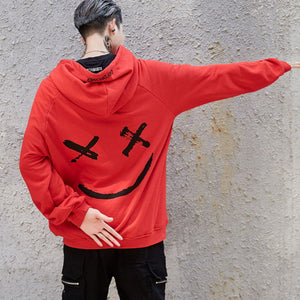 Graffiti Smiling Face Stitching Loosely Men's Hoodie