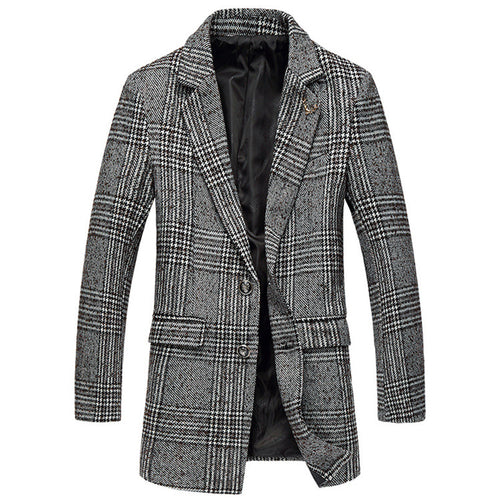 Plaid Wool Blends Slim Men's Trench Coat