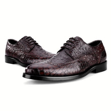 Animal Tattoo Cowhide Lace Men's Formal Shoes