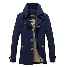Stand Collar Color Block Spandex Men's Trench Coat