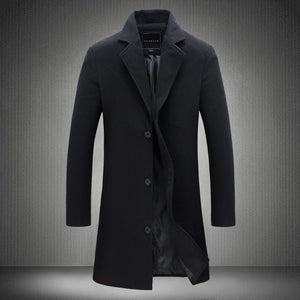 Solid Color Cotton Lapel Button Men's Trench Coat
