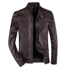 Pure Color Long Sleeve Lapel Men's Pleather Coat