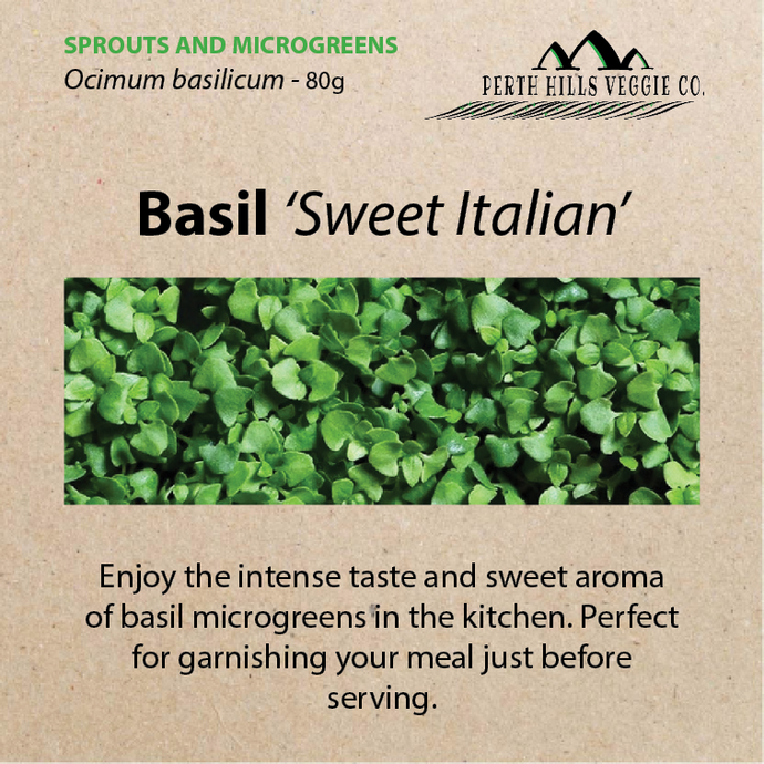 Basil 'Sweet Italian' Microgreen Seeds (80 grams)
