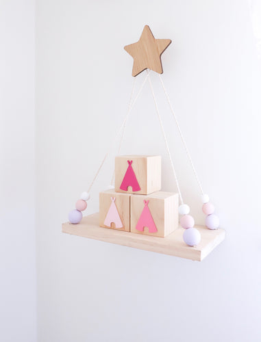 THREE Pink Teepee Blocks
