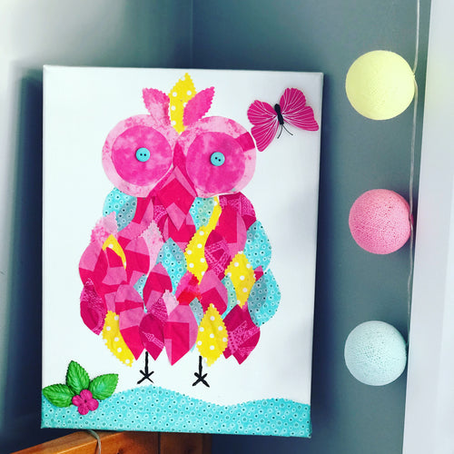 Pink owl canvas- small 30x30 cm