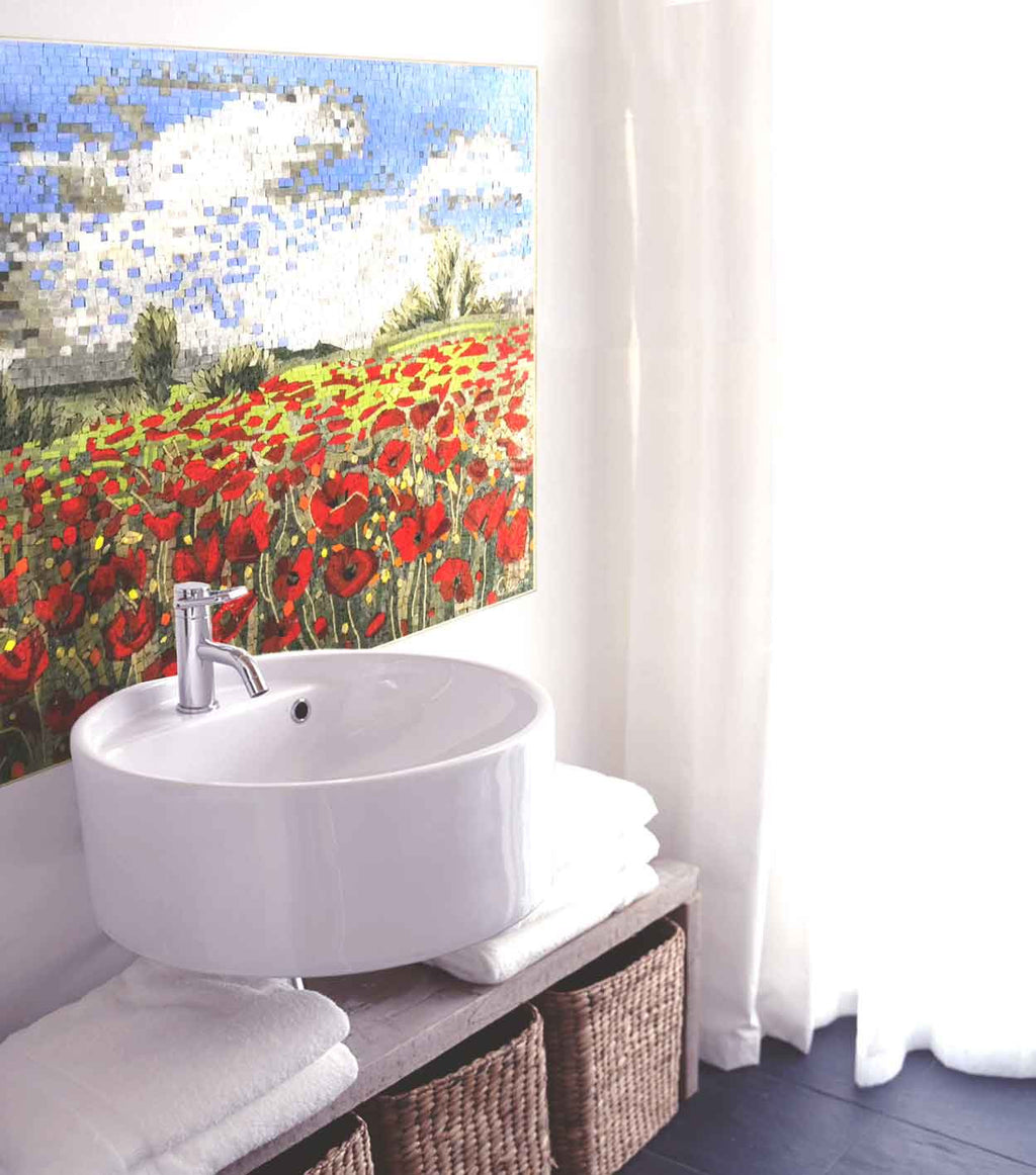 bathroom installation of red flower mosaic