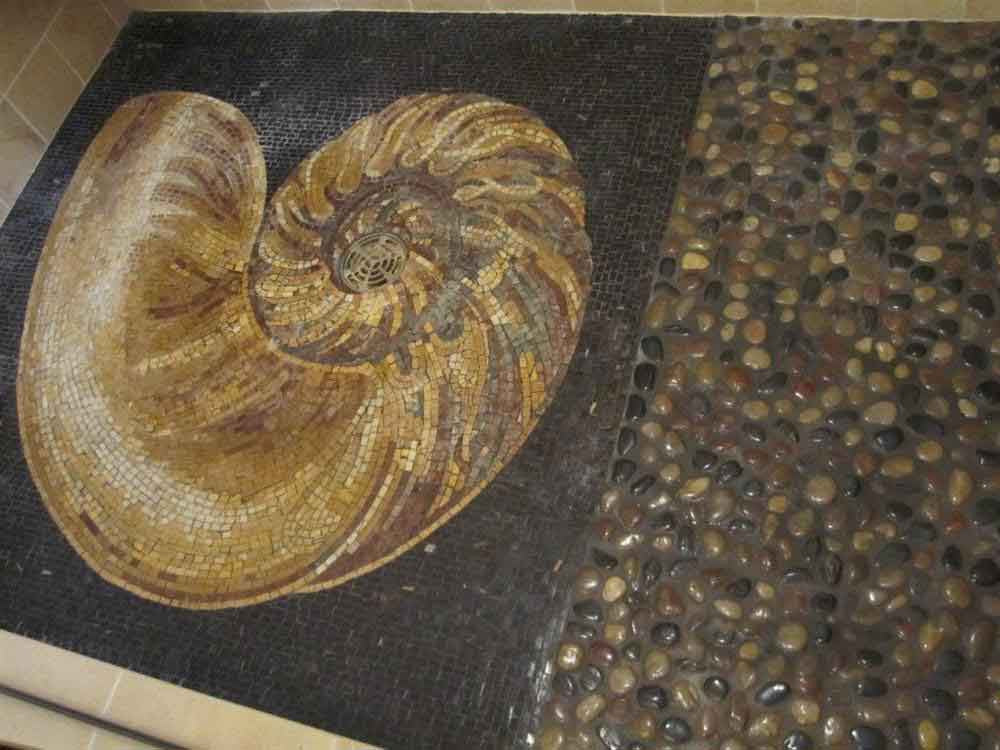 sea shell mosaic art installed in shower