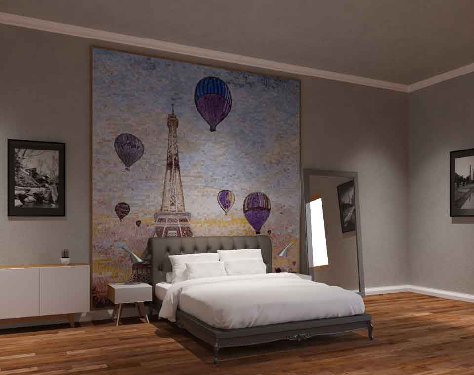 tour eiffel mosaic bedroom decor