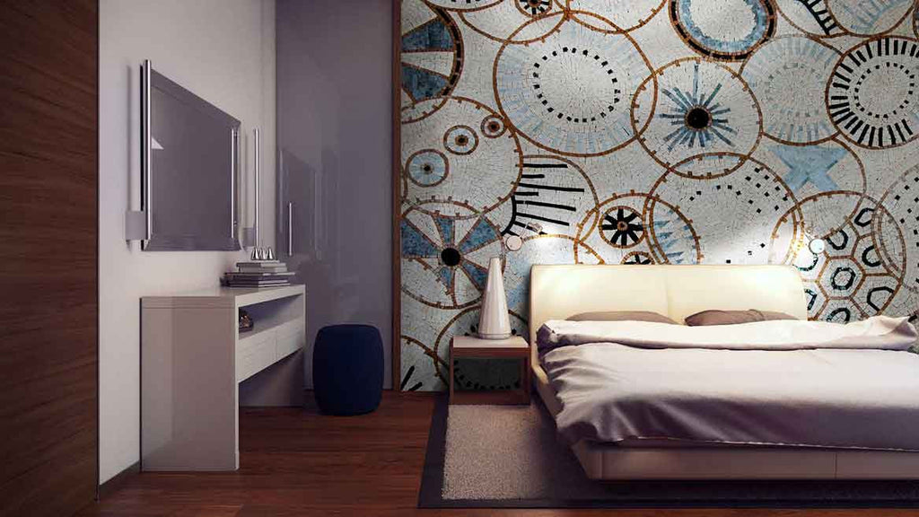 geometric patter mosaic bedroom installation