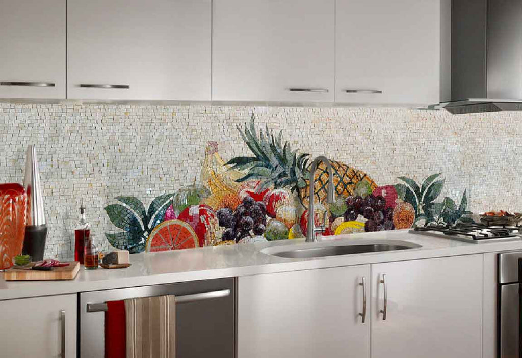 installation of marble mosaics for kitchen decor