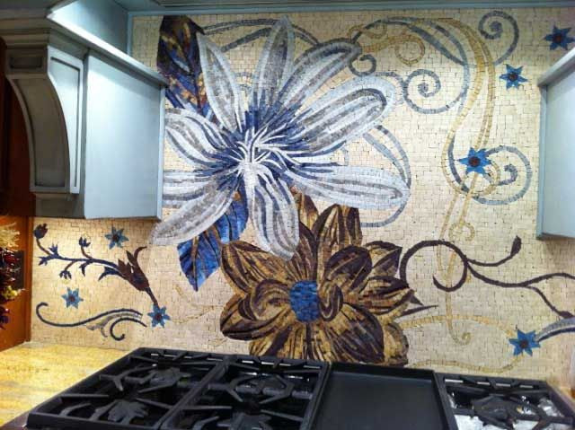 decorative kitchen backsplash floral mosaic