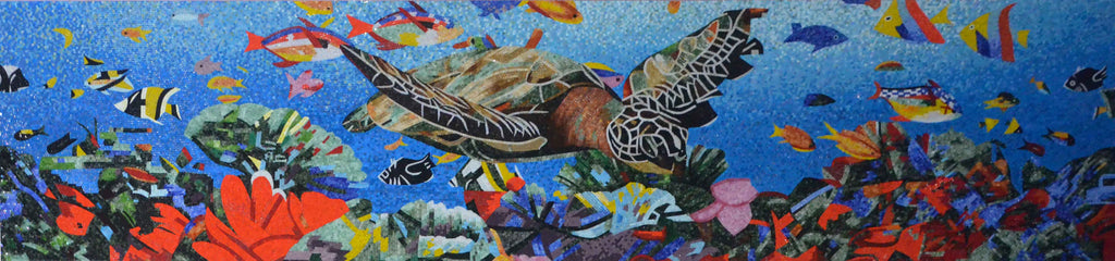 Aquatic Ocean Mosaic Scene - Glass Mosaic Art