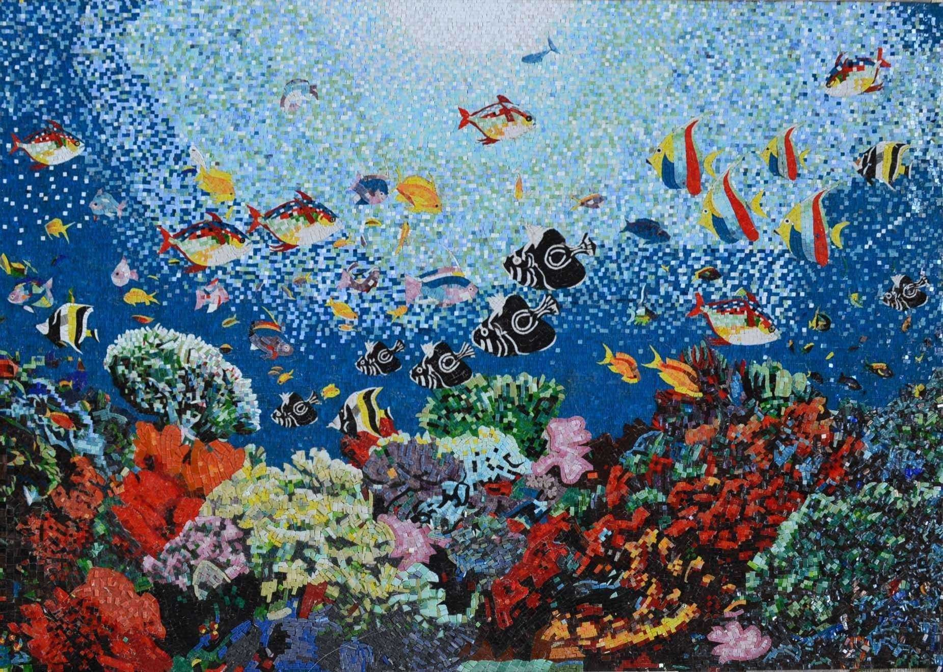 Aquatic ocean scene glass mosaic pool tiles marine life for Pool design mosaic tiles