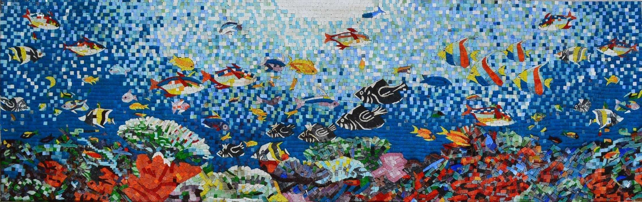 Aquatic Sea Creatues Scene Glass Mosaic Pic