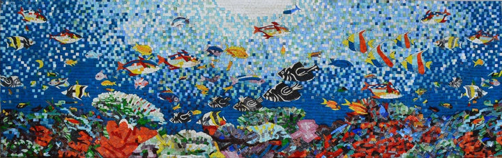 Aquatic Sea Creatues  Scene Glass Mosaic