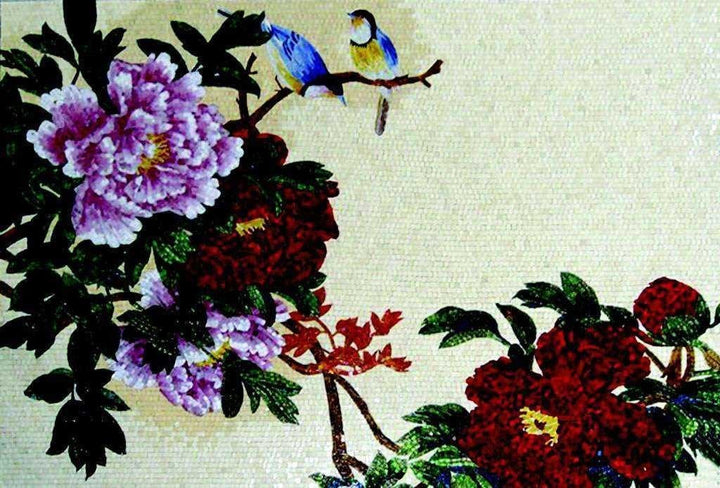 Mosaic Tile Art - Birds on a branch