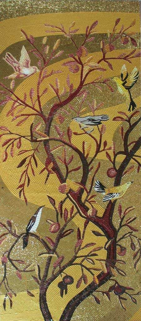 Mosaic Mural - Autumn Tree Birds