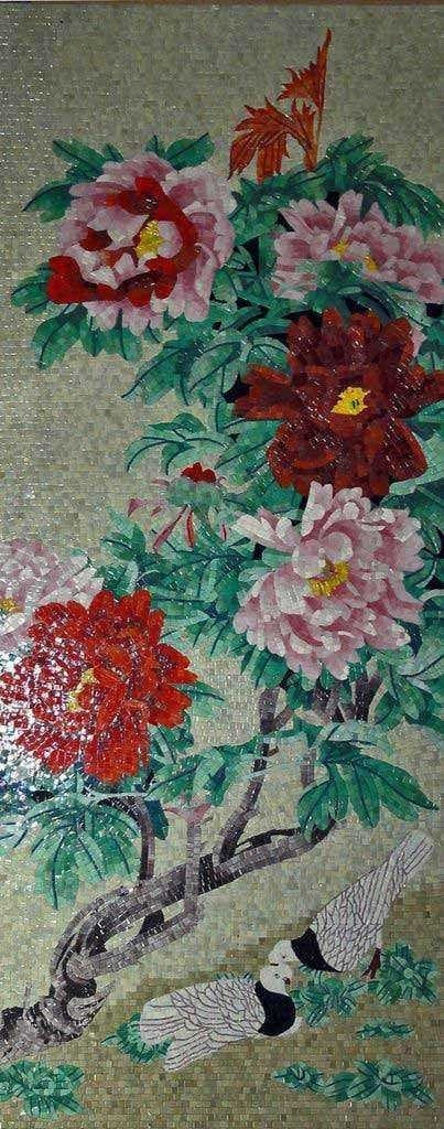 Mosaic Artwork Flowering Branches Pic