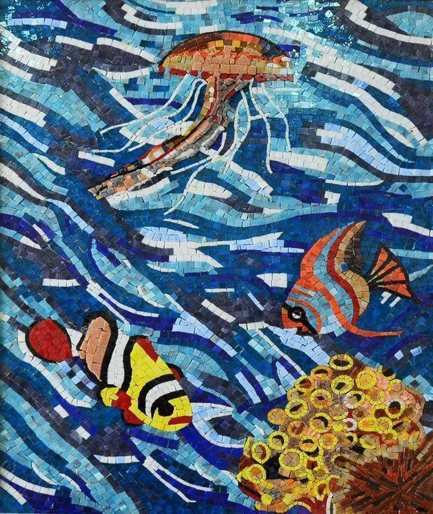 Jellyfish In The Coral Reef Glass Mosaic Art Pic