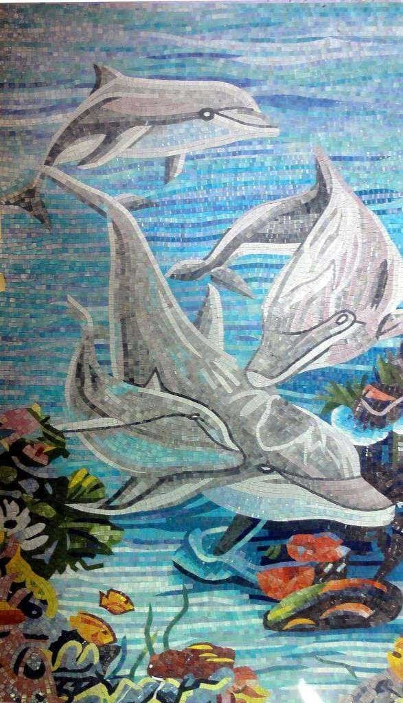 Dolphins Playing In The Sea Glass Mosaic Pic