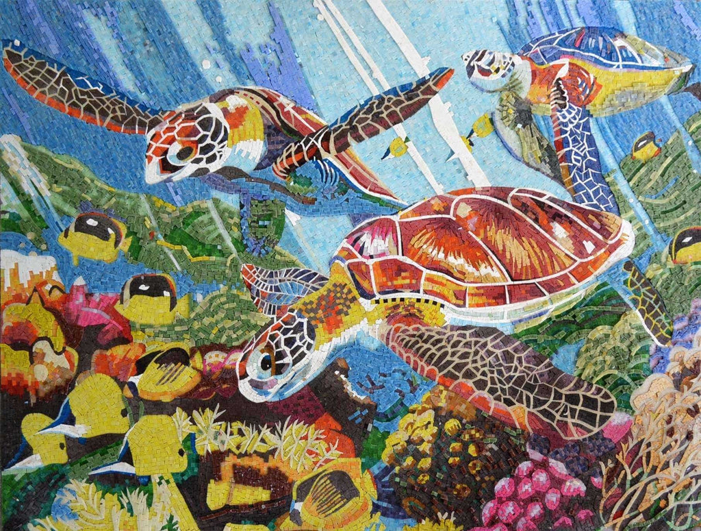 Colorful Sea Turtles And Fish Glass Mosaic Mural Marine