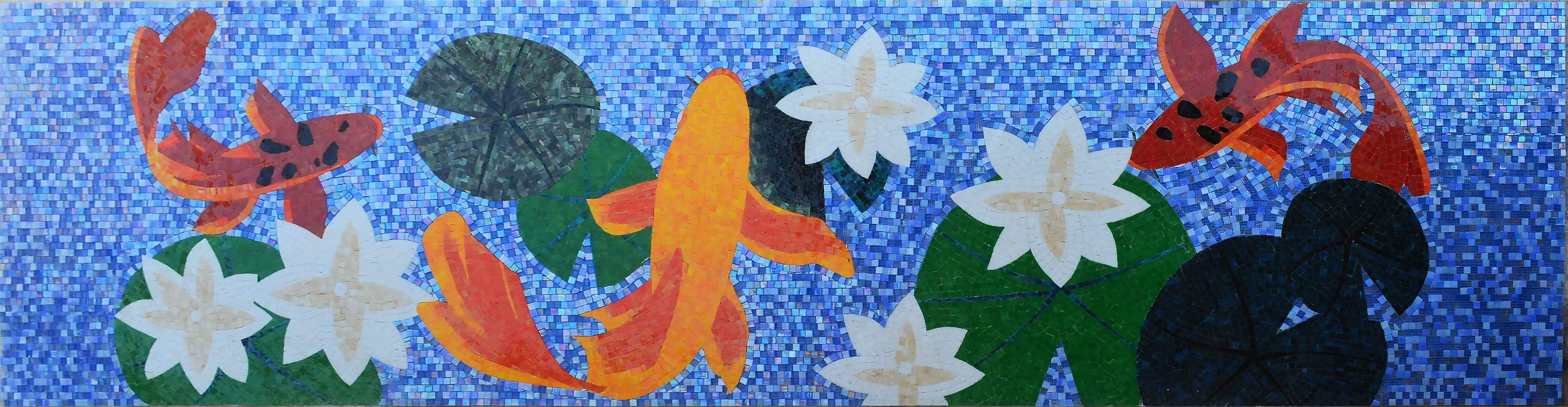 Pond With Fishes Mosaic Art Pic