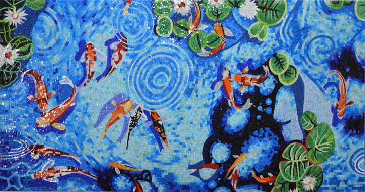 A Group of Koi Fish in a Pond - Mosaic Artwork | Marine Life&Nautical | Mozaico