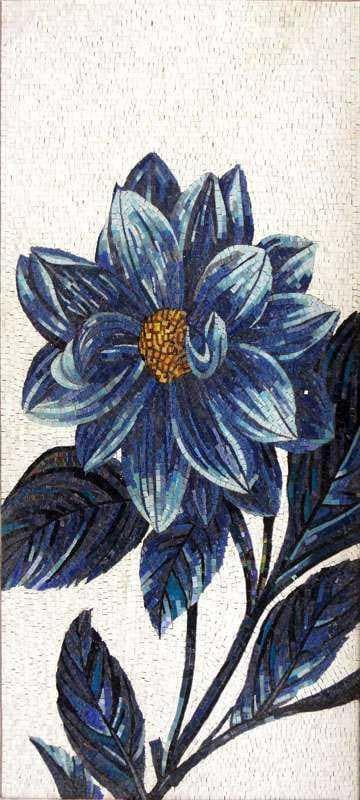Glass Mosaic Art Blue Flower Pic