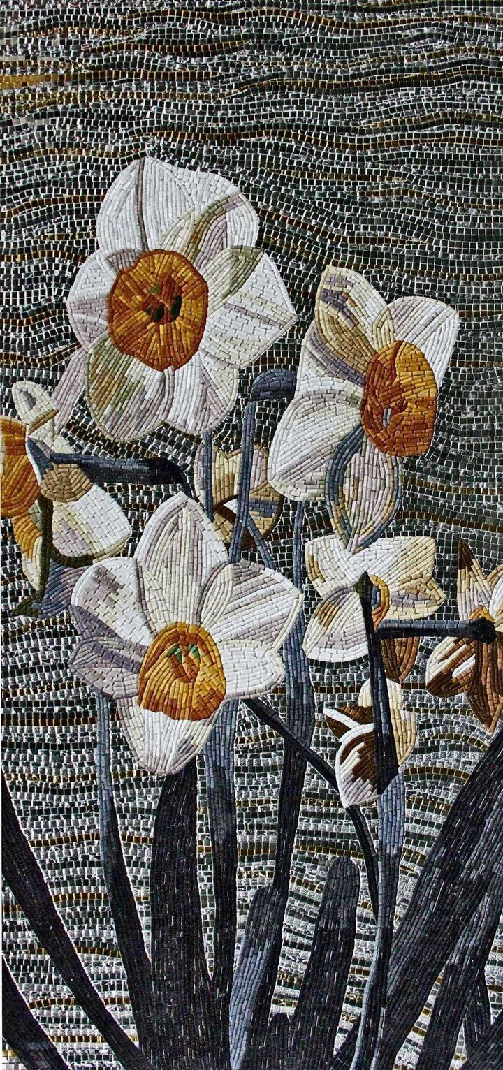 Floral Mosaic Tile Art - White Poppy