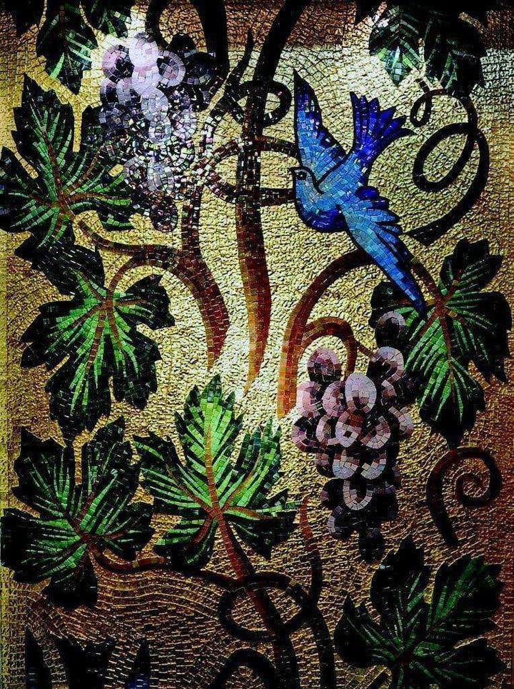 Mosaic Mural - Blue Bird in Gold