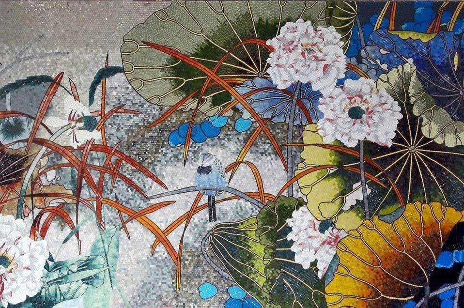 Glass Mosaic Artwork Vivid Garden Pic