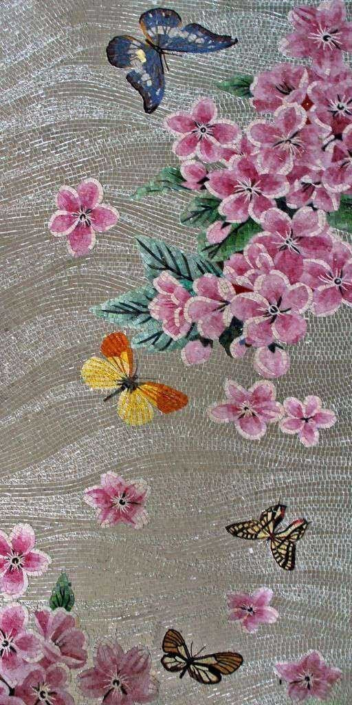 Glass Mosaic Mural - Butterflies And Buttercups