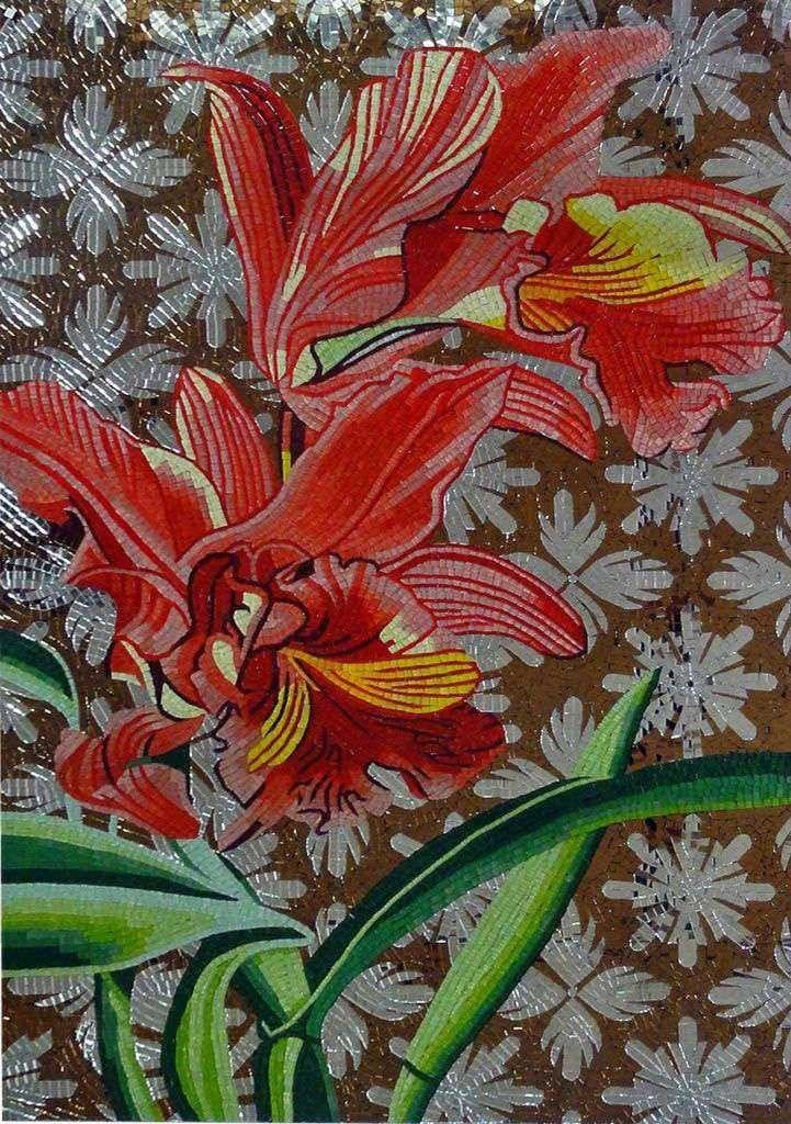 Glass Mosaic Mural - Red Lillys
