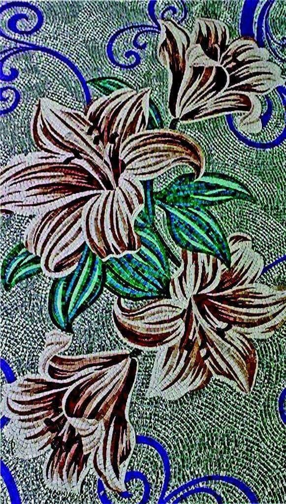 Floral Glass Handcut Mosaic - Blooming Amaryllis