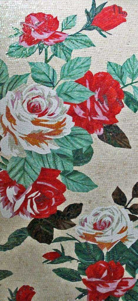 Marble Stone Mosaics - Red and White Roses