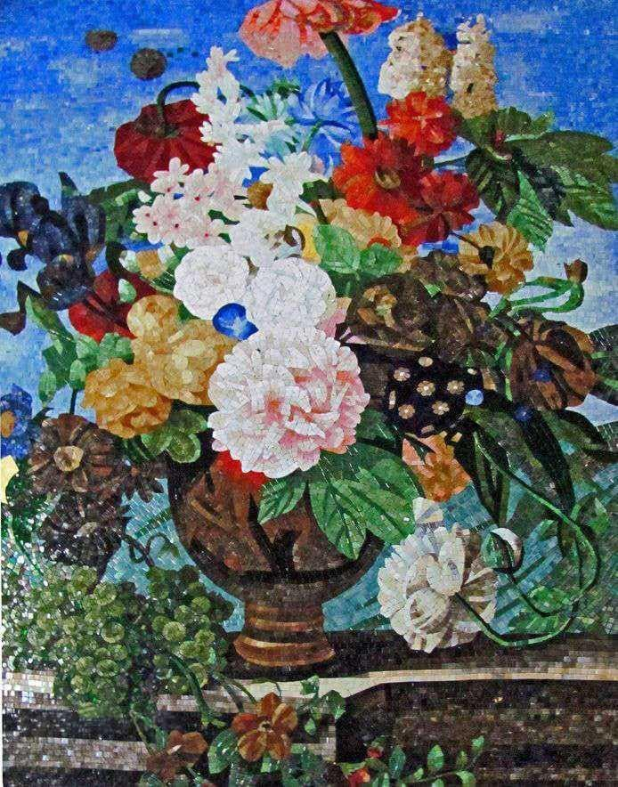 Mosaic Flower Artwork - Bright Bouquet